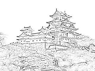 Himeji Japanese Castle Sketch