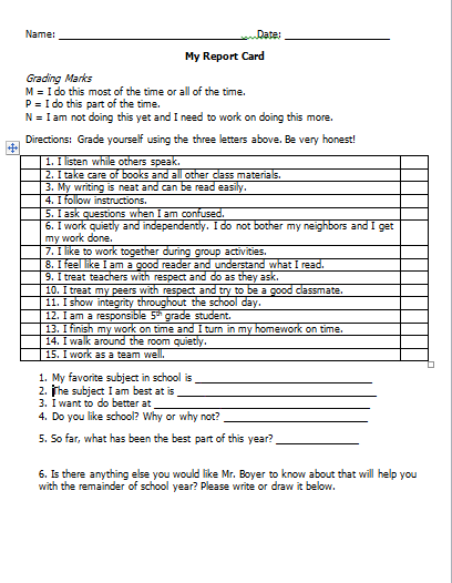 Students Teacher Evaluation Form Student Self Evaluation Form