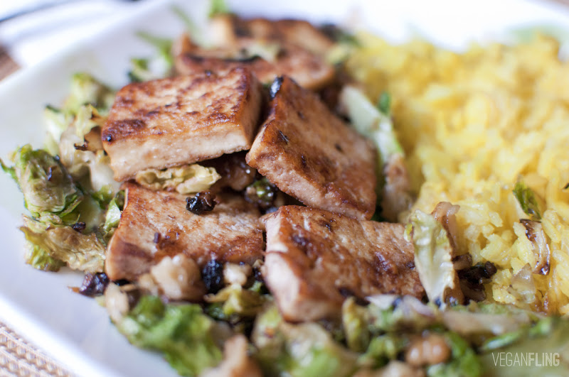 VeganFling: Caramelized Tofu with Brussels Spouts and Saffron Rice