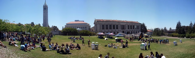 UC Berkeley Memorial Glade Panorama with Sather Tower aka Campanile and the Doe Library in the background.