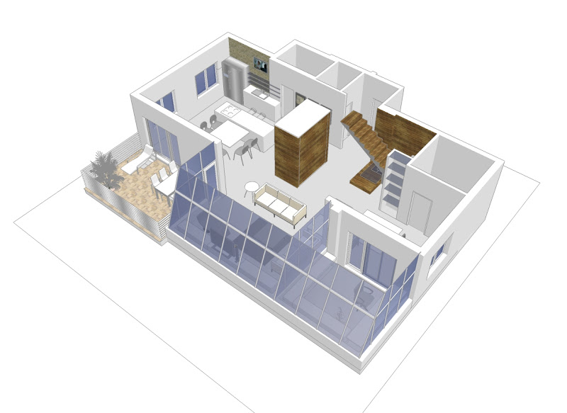 Here are some 3D visualizations of the apartment from the previous  title=