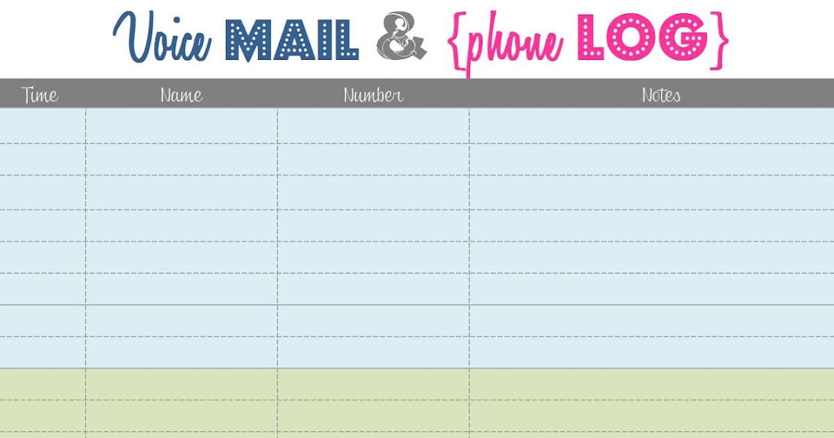 something craftastical  voice mail and phone log  printable