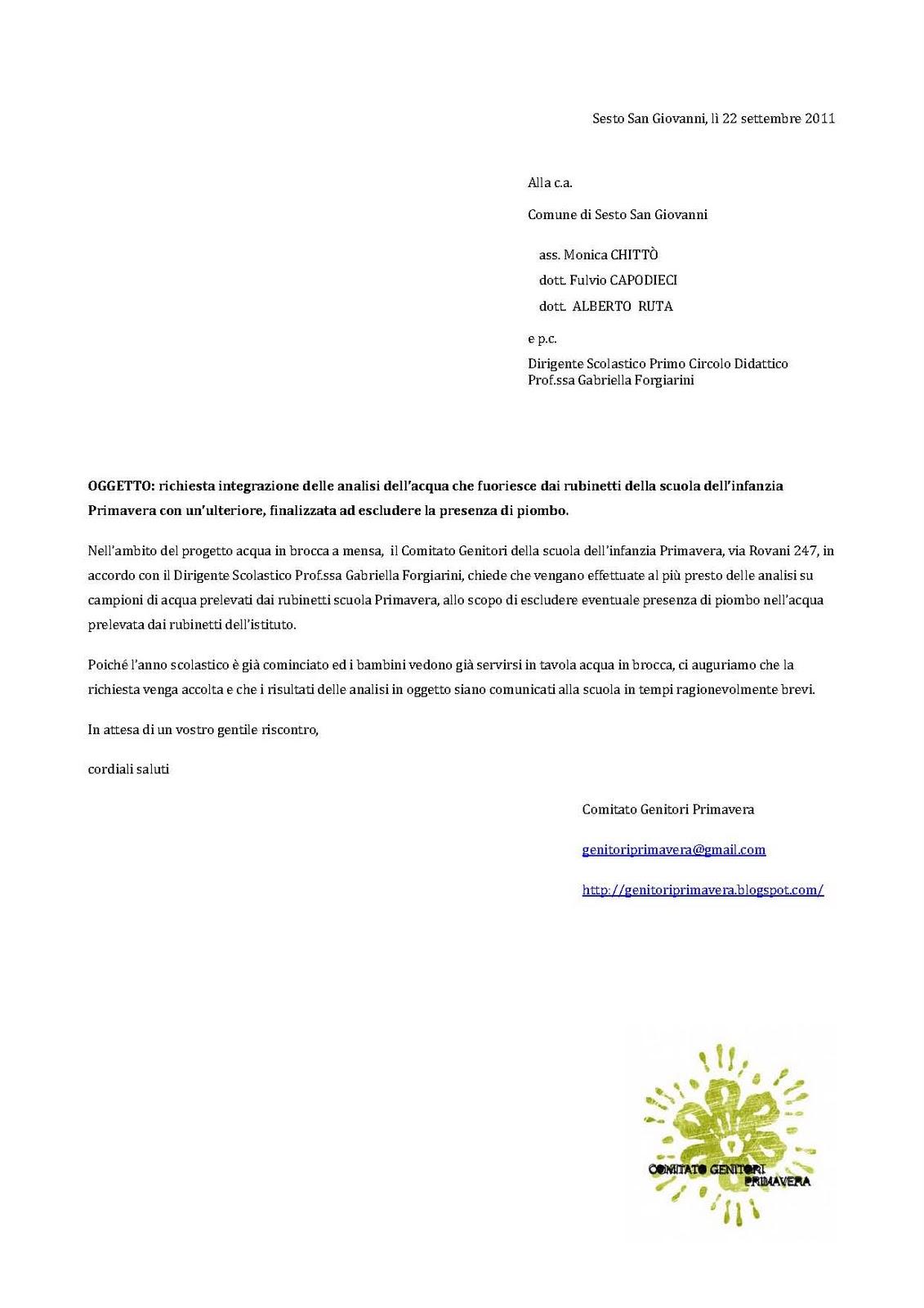 Comitato Genitori Scuola Primavera: Richiesta analisi acqua per escludere piombo