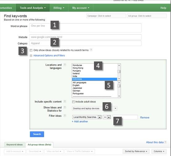 cara riset keyword - Fitur standar google keyword tool