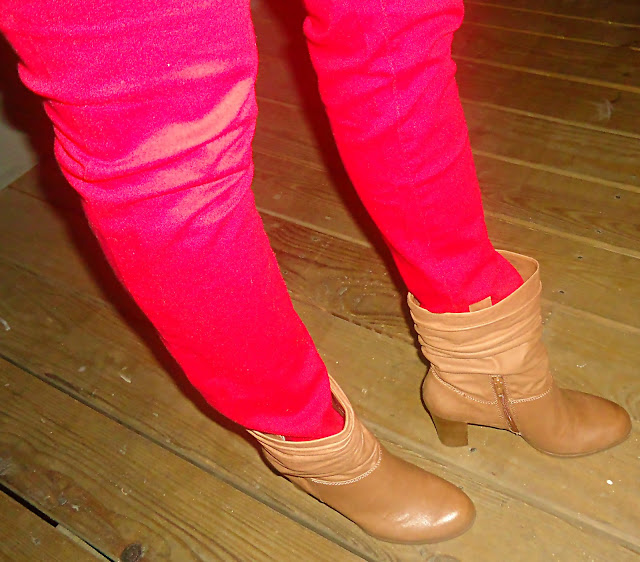 Nine West Booties, Red Skinny Jeans
