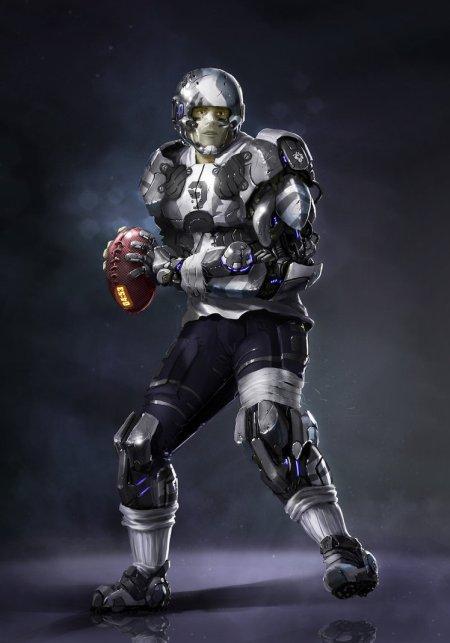 vincent ptitvinc deviantart ilustrações artes conceituais fantasia futurista robôs tecnologia Jogador de futebol americano futurista