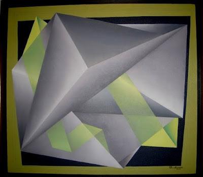 Geometria abstrata -Técnica mista s/tela-Geometria com transparência-artista Elma Carneiro