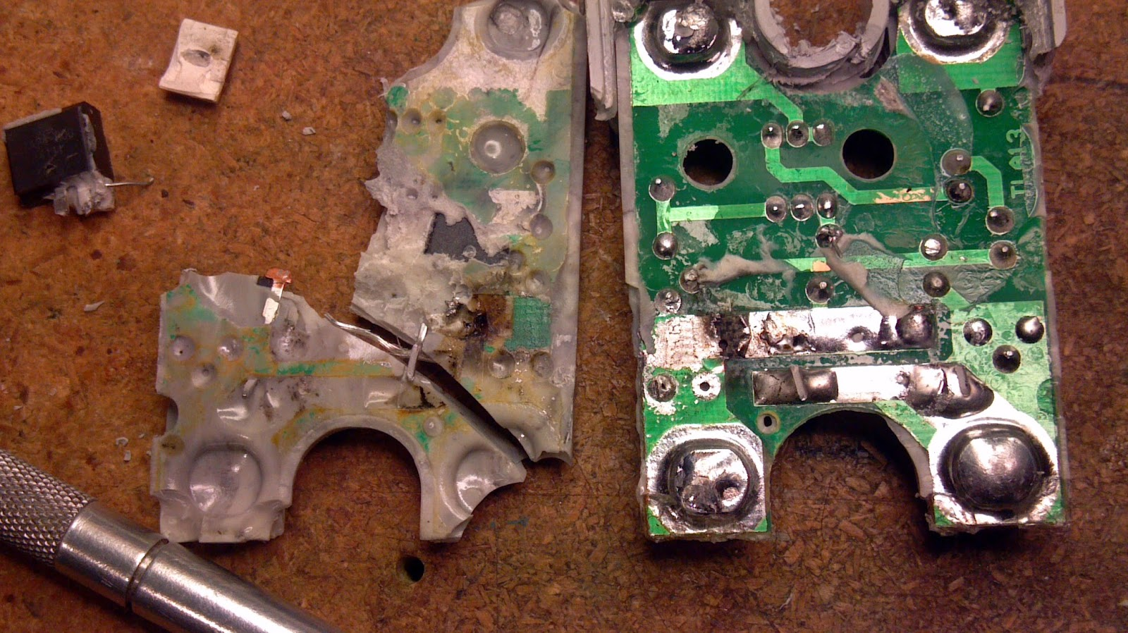 The Unremarkable Adventures Of An Electron How To Destroy A Fake Crydom Ssr Wiring Diagram Fused Leads And Torn Trace Melted Solder Blown Through Vias