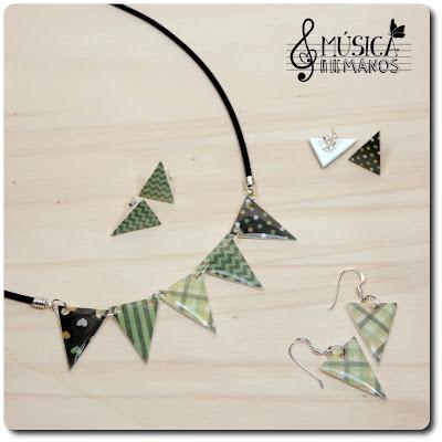 Conjunto verde y marrón de banderines de plástico mágico