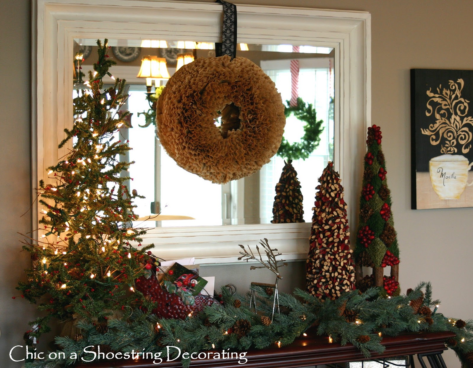 Chic on a shoestring decorating a rustic christmas vignette for Northwoods decor
