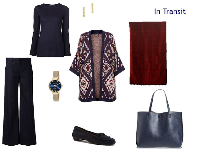 travel outfit in navy, beige and maroon - navy tee and trousers, patterned cardigan