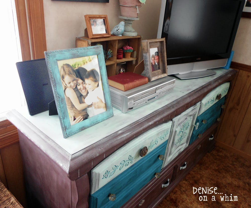 Entertainment Center Makeover in Virginia Chestnut and Teal via http://deniseonawhim.blogspot.com