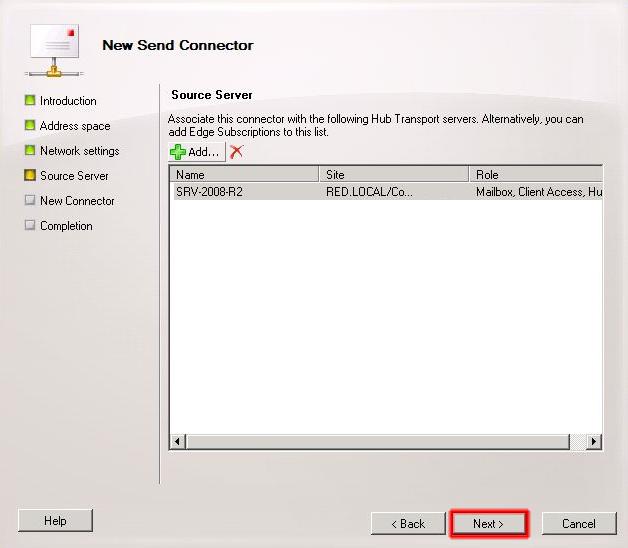 Apartado Source Server del asistente conector de envío.