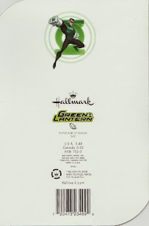 Back of Green Lantern doorknob hanger birthday card from Hallmark