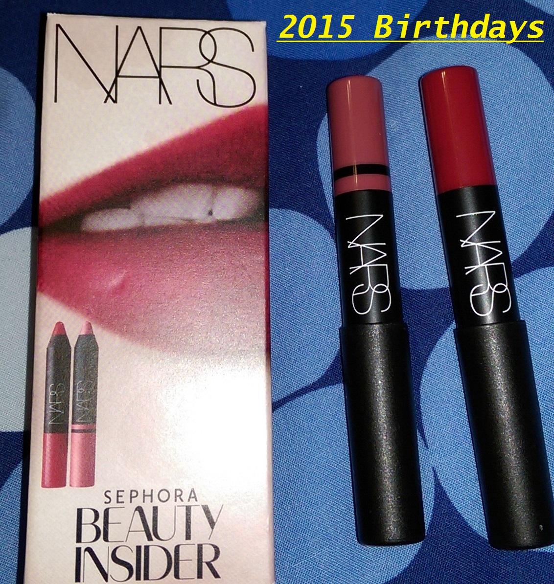 Marc Jacobs Set Eyeliner Blacquer Lipstick Kiss Bang Lip Creme 2015 Sephora Birthday Gift NARS Cruella Rikugien Satin Pencil Velvet Matte Crayon