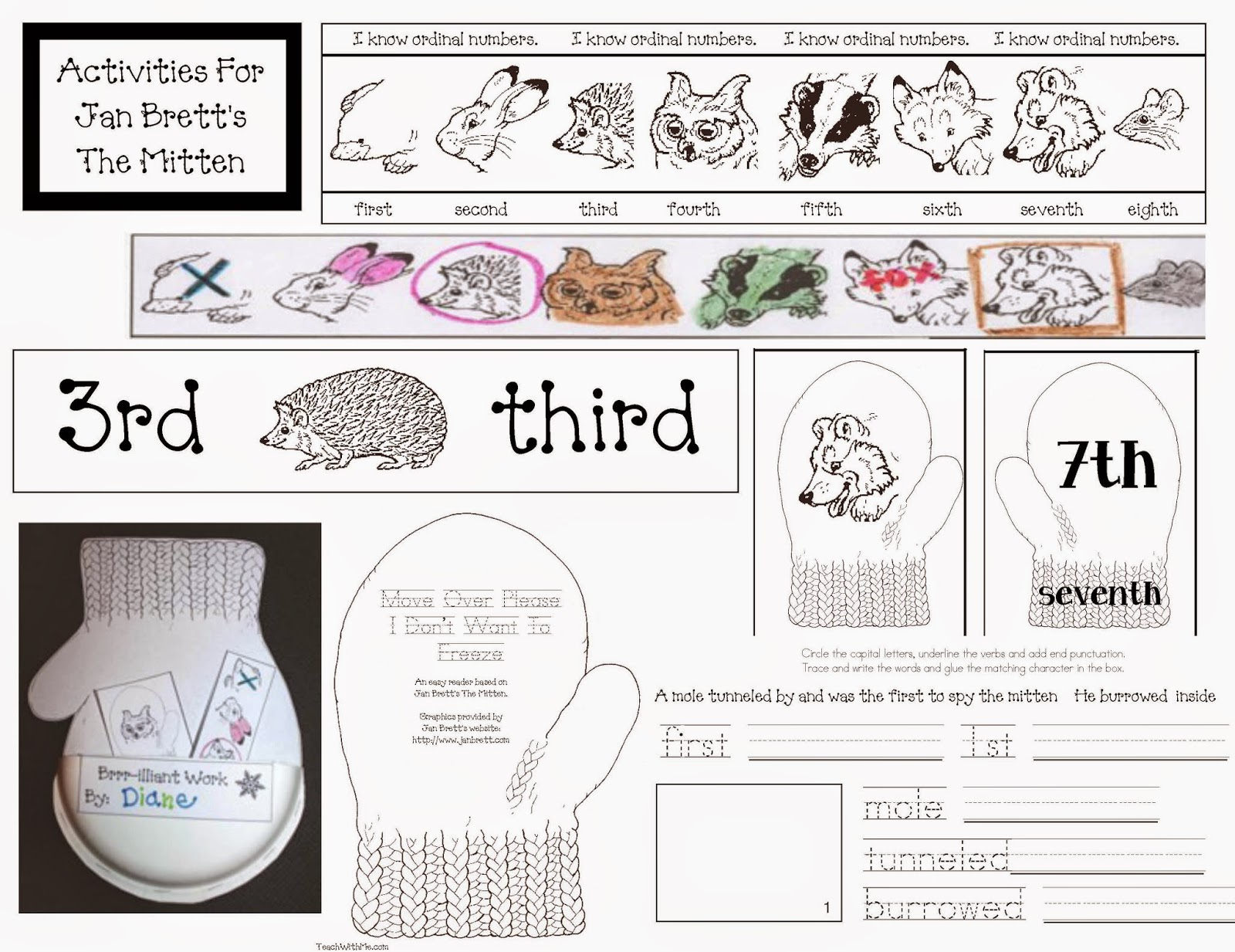 Classroom Freebies: Activities to go with Jan Brett's The Mitten