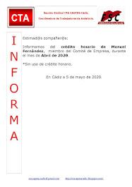 C.T.A. INFORMA CRÉDITO HORARIO MANUEL FERNANDEZ, ABRIL 2020