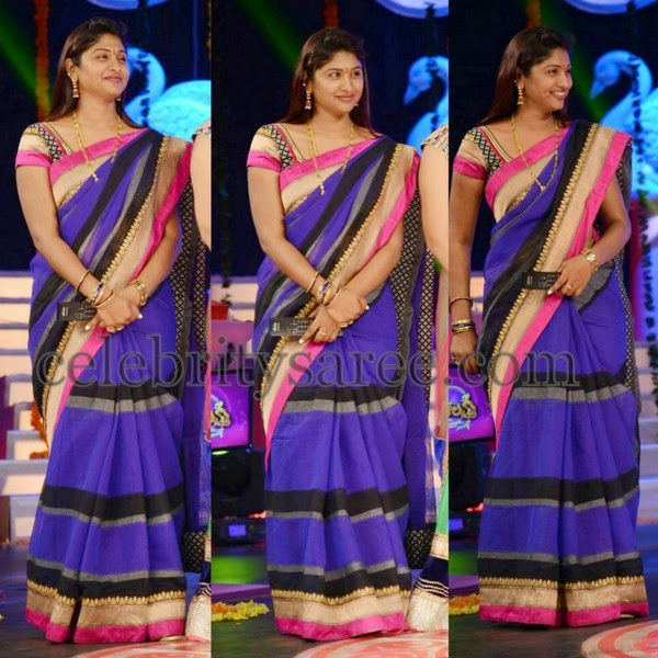 TV Actress Purple Cotton Silk Saree