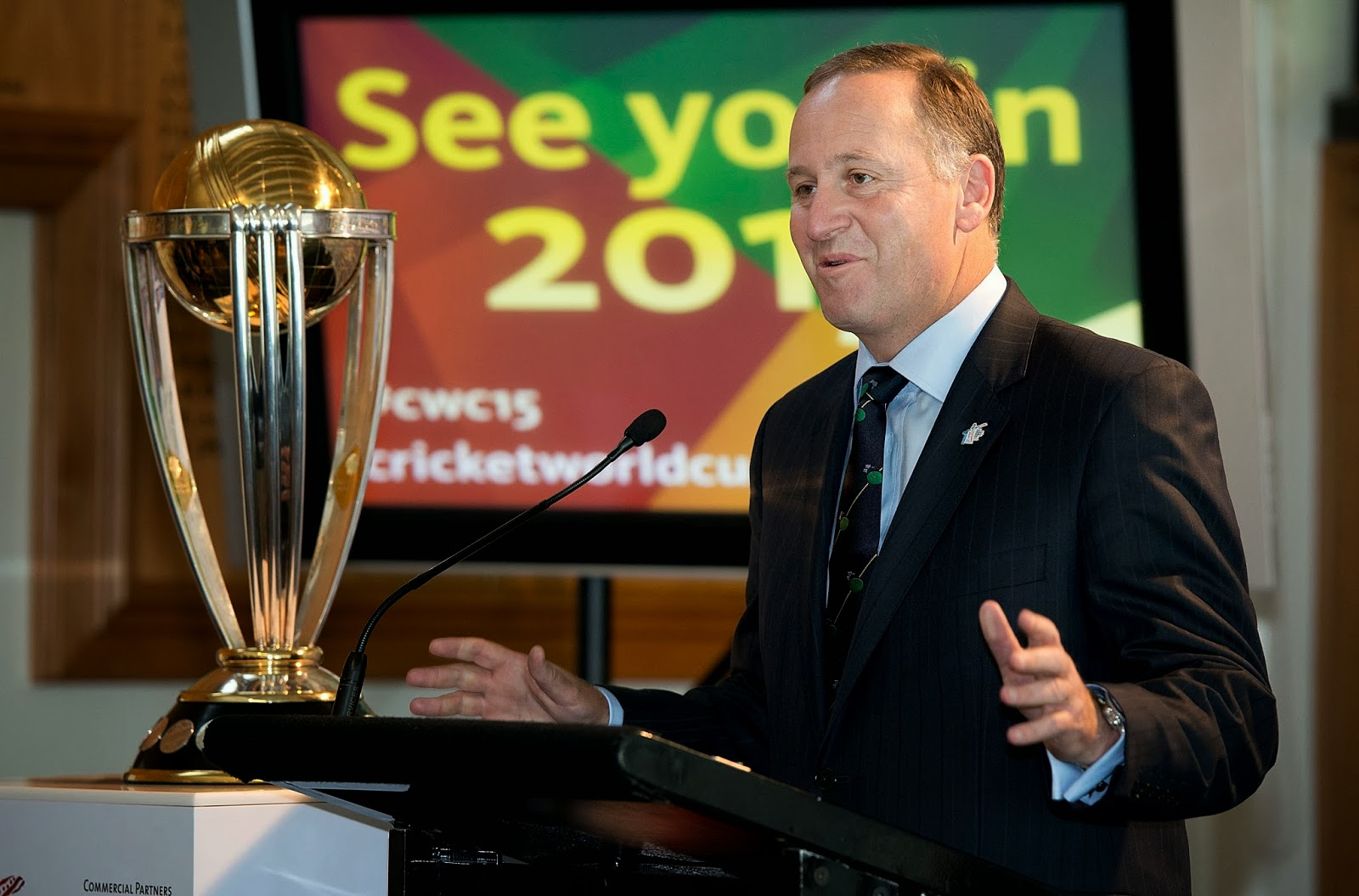 ICC, Cricket, Cricketer, Sports, 2015 Cricket World Cup, World Cup, Australia, New Zealand, Sydney, Prime Minister, Politician, Tony Abbott, John Key, Ralph Waters, Chairman ICC Cricket World Cup, Wellington,