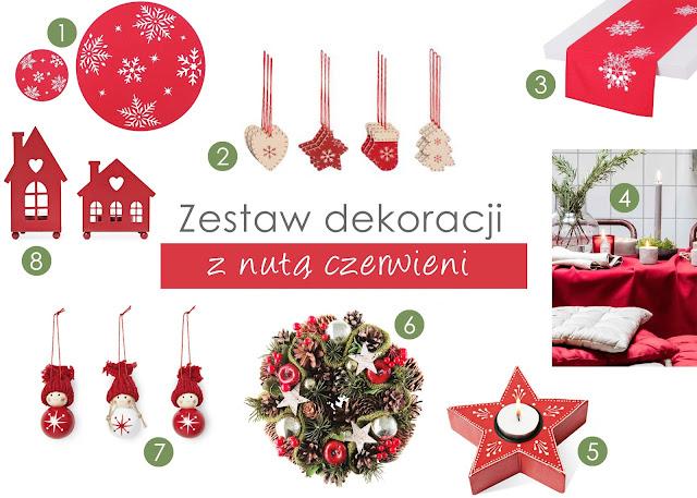 dekoracje czerwone bożonarodzeniowe