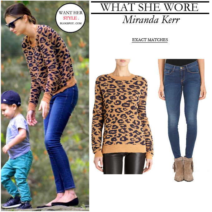 WHAT SHE WORE: Miranda Kerr in leopard print sweater with blue ...