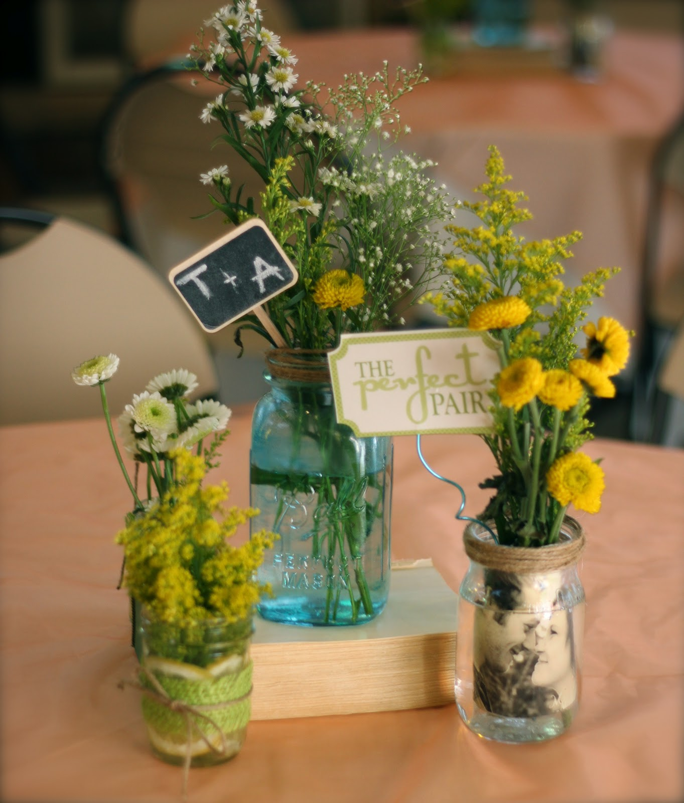 blue mason jar centerpieces baby shower i also made some photo jars