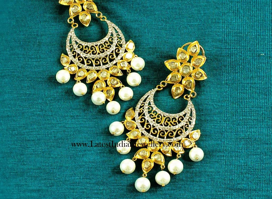 Fancy Diamond Chand Bali Earrings