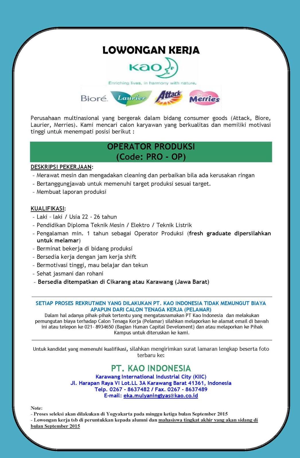 Lowongan di PT Kao Indonesia - Lowongan Kerja Terbaru