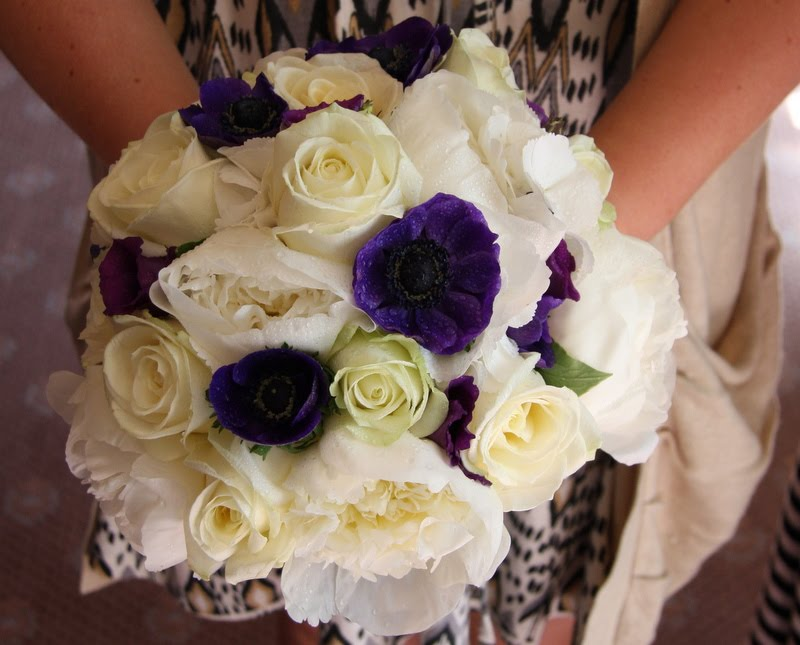 White Peones White Roses White Hydrangeas and deep purple Lissianthus