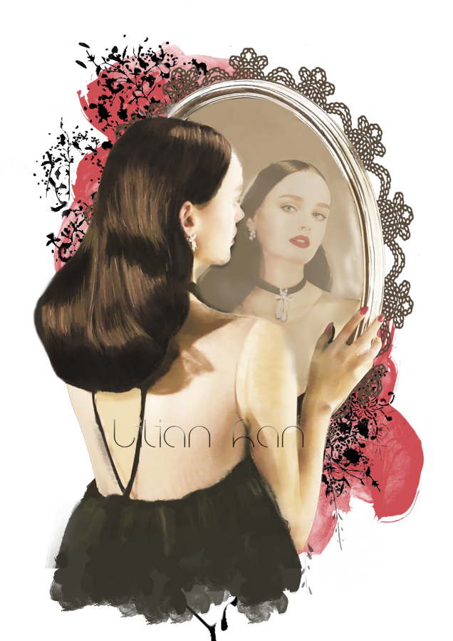 Snow white mirror on the wall