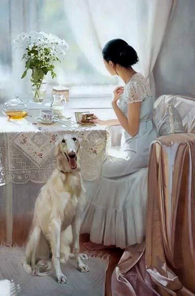 retrato-de-mujer-con-perro-y-flores