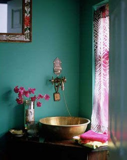 Dishfunctional designs the bohemian bathroom Purple and gold bathroom accessories