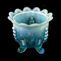 EAPG Blue Opalescent Jackson Sugar Bowl