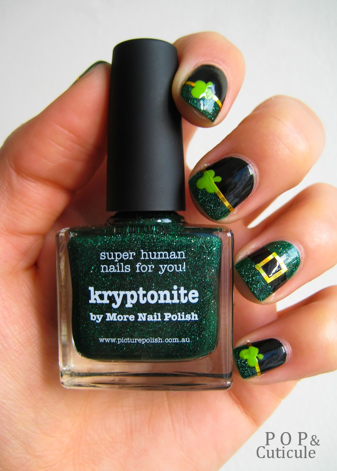 Pop & Cuticule, Saint Patrick, Kryptonite Picture Polish