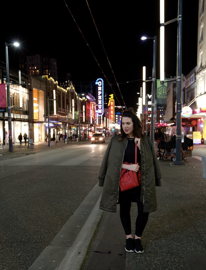 Red Celine Nano Bench Canada Baddah leggings and Apocalypse tee Vancouver blogger