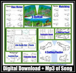 photo of: Tadpole to Frog Metamorphosis through Song and Fine Motor Supplemental Pages (from RainbowsWIthinReach)
