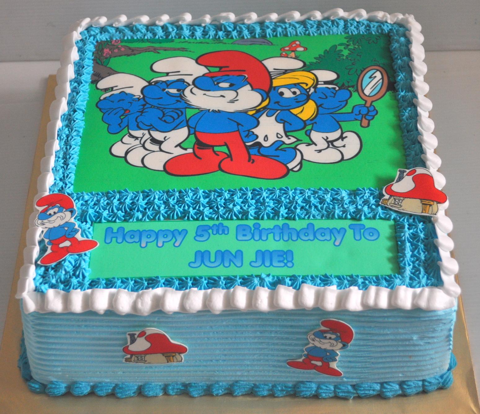 Izahs Kitchen Smurf Theme Birthday Cake
