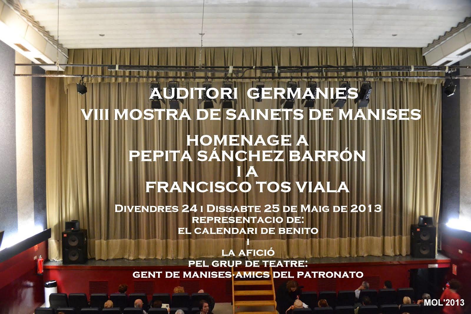 24.05.13 MOSTRA DE SAINETS EN LLENGUA VALENCIANA, AUDITORI GERMANIES