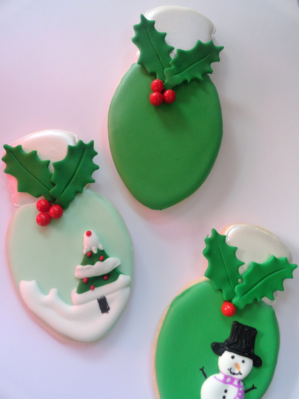 Pink Little Cake Christmas Light Bulb Cookies
