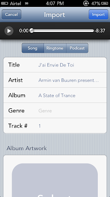 Bridge import songs from iphone to music library