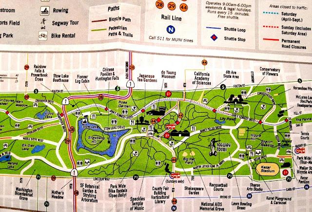 Mapa Golden Gate Park em San Francisco