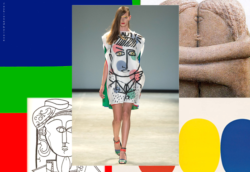 Jean-Charles de Castelbajac turned to the vibrant Ellsworth Kelly palette of red, green and blue as well as The Kiss by Brancusi