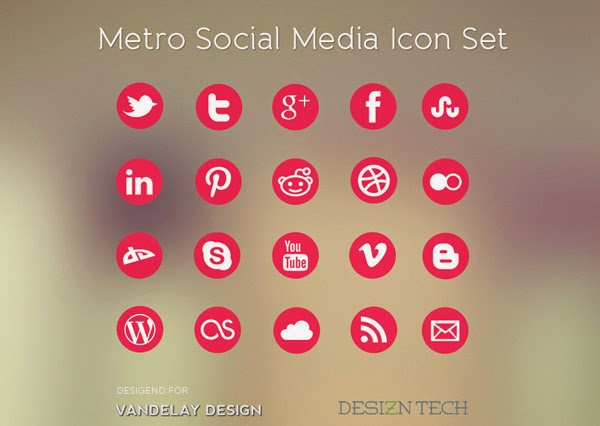 Metro Social Media Icon Set - Free Flat Social Media Icons