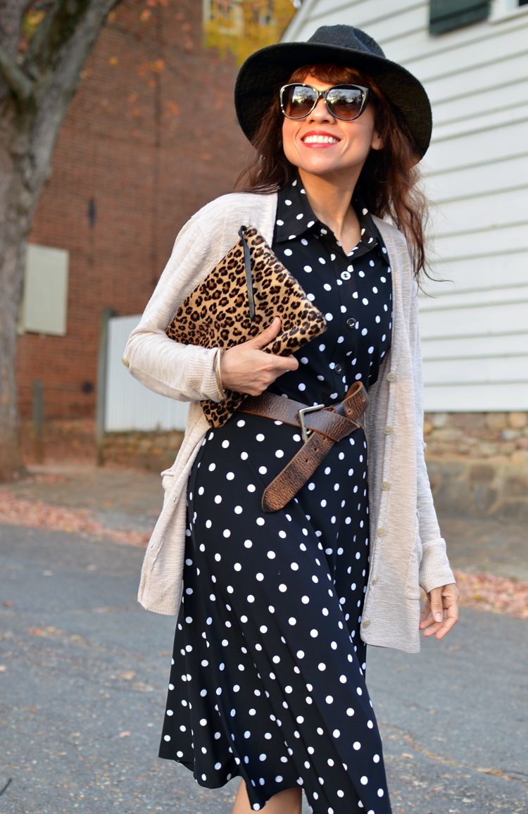 Outfit with polka dots and leopard