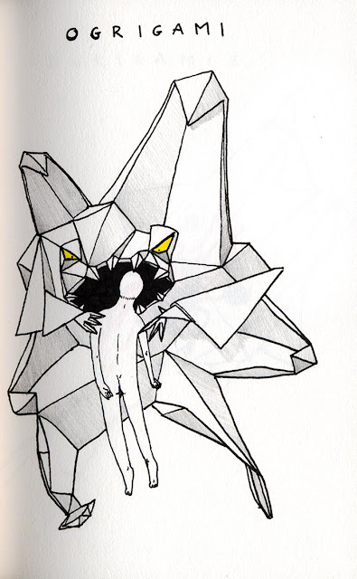 dessin a l'encre noire d'un ogre en origami mangeant un homme