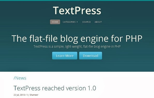 TextPress flat file blogging software
