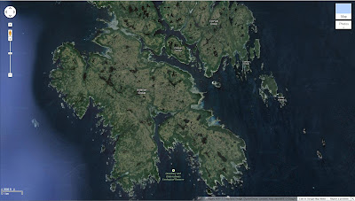 Map of Dewdney Islands in the Estvean Group (Google Maps) Showing Fringe of Trees