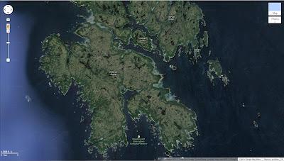 Map of Dewdney Islands in the Estvean Group (Google Maps) Showing Fringe of Trees