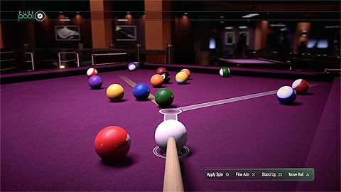 Screenshot of Pure Pool on Xbox One. A purple table with many coloured balls on top. View is down the tip of a cue about to strike the white cue ball. Trajectory guides appear on the table.