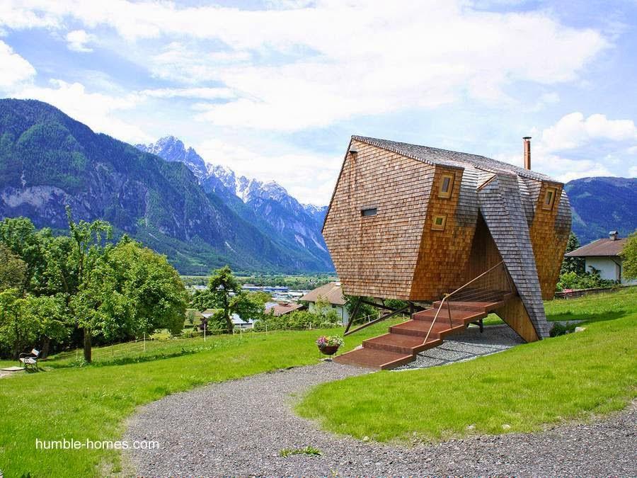 Pequeña cabaña turística de forma inusual en Austria